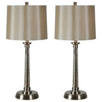 Renwil - Brooks Table Lamp - The Brooks Table Lamps are the perfect examples of elegant simplicity with their mercury glass bodies, satin nickel trims, and champagne linen shades. They are completed with matching cylinder finials and tri-light sockets. Sold as a set of two.