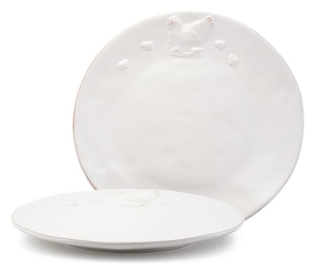 Glazed Chicken Ceramic Dinner Plates White Set of 2  sc 1 st  Houzz & Glazed Chicken Ceramic Dinner Plates White Set of 2 - Farmhouse ...
