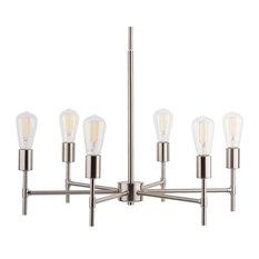 Bella Chandelier with Bulb, Brushed Nickel