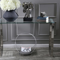 Sagebrook Home Silver Metal/Glass Console Table Accent