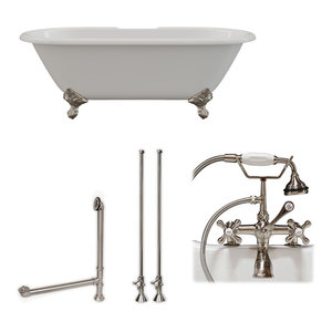 """Cast Iron Double Ended Clawfoot Tub 67""""x30"""" 7"""" Drillings BN Package"""