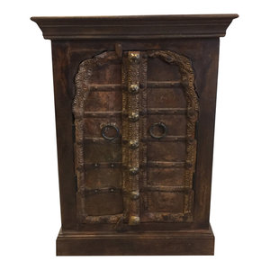 Mogul Interior - Consigned Antique Mehrab Patina Doors Side Chest, Nightstands, carved End Tables - Nightstands And Bedside Tables