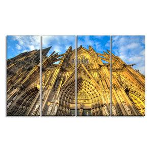 Designart Green Northern Lights Aurora Large Abstract Glossy Metal Wall Art 48x28-4 Equal Panels