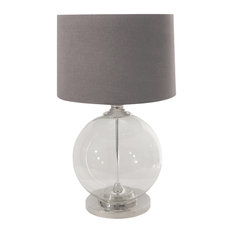 Large Glass Ball Table Lamp With Dark Grey Lampshade