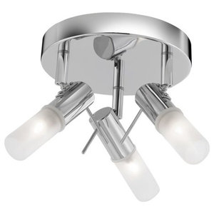 Mars Chrome 3-Light Spotlight With Frosted Tube Glass