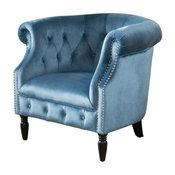 GDF Studio Aries New Velvet Tub Style Club Chair, Aqua