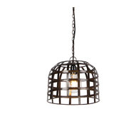 Industrial Pendant Lamp 30cm Black Steel - Fence