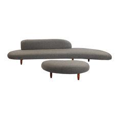 Kidney Bean Modern Sofa and Ottoman 2-Piece Set, Cadet Gray Cashmere