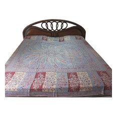 Mogul Interior - Cashmere India Bedding Blue Maroon Pashmina Blanket King Sofa Throw - Blankets