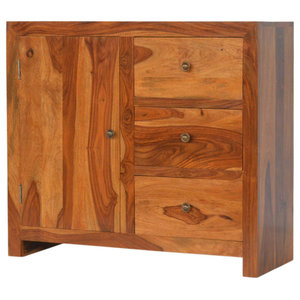 Sheesham Solid Wood Storage Cabinet with 3 Drawers and 1 Door
