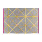Grid large geometric patterned wool rug