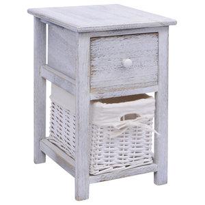 VidaXL Shabby Chic Bedside Cabinet, Wood White