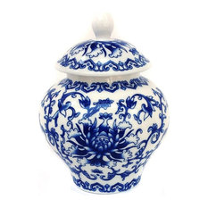 Ancient Chinese Style Blue and White Porcelain Tea Storage Jar, Large