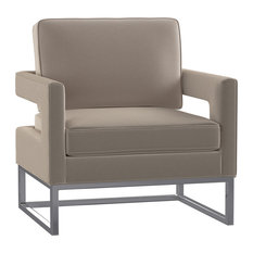 1st Avenue - Fortuna Velvet Accent Chair With Silver Frame Base, Mink - Armchairs and Accent Chairs