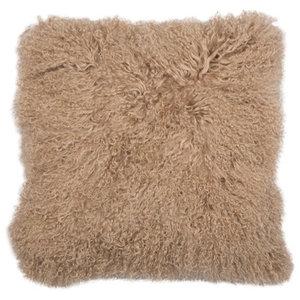 Warm Taupe Mongolian Fur Cushion