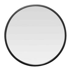 Round Black Metal Mirror, 60 cm