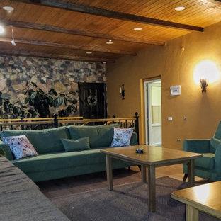 Réalisation d'une véranda craftsman de taille moyenne avec sol en stratifié, aucune cheminée, un plafond standard et un sol marron.