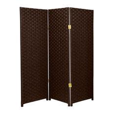 4' Tall Woven Fiber Room Divider, Dark Mocha, 3 Panel