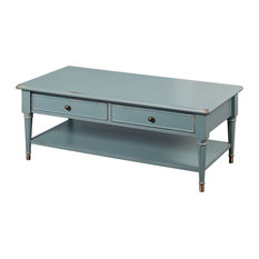 TMS   Emilia Coffee Table, Antique Blue With Distressed   Coffee Tables