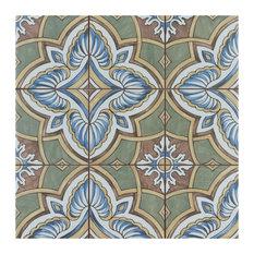 "SomerTile Harmonia Classic 13"" x 13"" Ceramic Floor and Wall Tile, Grove Green"