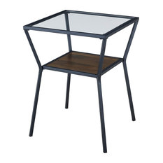 Modern Side Table Clear Tempered Glass Top On Metal Angled Frame Walnut Brown