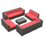 Urban Furnishing - Bermuda Outdoor Patio Furniture Sofa Sectional, 11-Piece Set, Coral Red - - Designer Gray Wicker Pattern