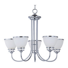 Novus 5-Light Chandelier, Polished Chrome, Satin White