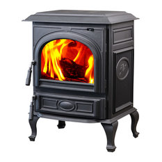 HiFlame 1,800 sq. ft. Top Vent Cast Iron Wood Burning Stove HF717UA, Black