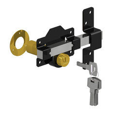 "Double Cylinder Rim Lock Keyed Alike, Black/Stainless, 2"", Double Cylinder"