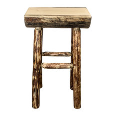 Montana Woodworks Glacier Country Half Log Bar Stool With Exterior Stain Finish Outdoor