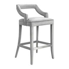 Tiffany Velvet Counter Stool - Gray