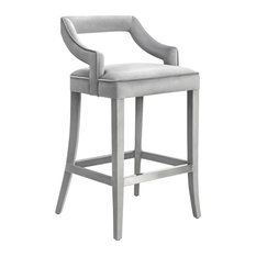 Tiffany Velvet Counter Stool - Gray