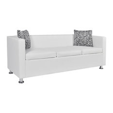 vidaXL Sofa 3-Seater w/ 2 Pillows Modern White Artificial Leather Living Room