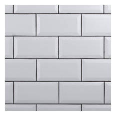 """3""""x6"""" Crown Heights Beveled Ceramic Wall Tile, Set of 44, White"""