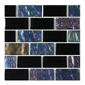 "12""x12"" Glass Tile Blends Twilight Series, Black"