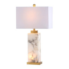 "Elizabeth 27.5"" Alabaster LED Table Lamp, White, Gold Leaf"