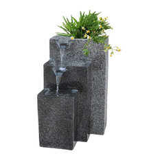 Falling Water Fountain, Light Grey Fiberglass With 3 Tier, Splashing Proof