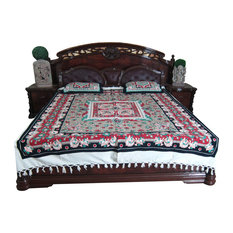 Mogul Interior - Indian Bedding Bedspread Cotton Home Furnishing Bedcover 2 Pillow Covers - Blankets