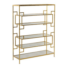 Weathered Gold Metal and Mirror Wall Shelf