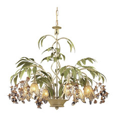 Nature-Inspired / Organic 6 Light Chandelier in Seashell, Sage Green Finish