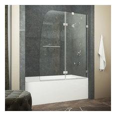 """HERALD Series 48"""" by 58"""" Frameless Hinged tub door in Brushed Nickel"""