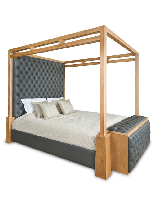 Cleary Luxury Four Poster Bed In Solid Oak And Leather