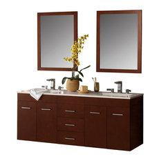 """Ronbow 61"""" Bella Solid Wood Double Wall Mount Vanity Set, Dark Cherry"""