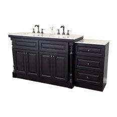 "Bellaterra 74"" Double Sink Bathroom Vanity, Dark Mahogany"