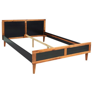 VidaXL Solid Acacia Wood Bed Frame, Black, 200x140 cm