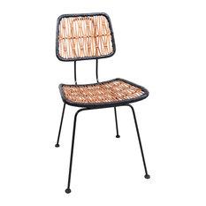 Anok Lattice Rattan Dining Chair With Metal Frame
