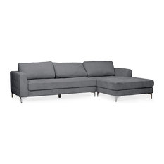 Baxton Studio Agnew Right Facing Sectional in Gray