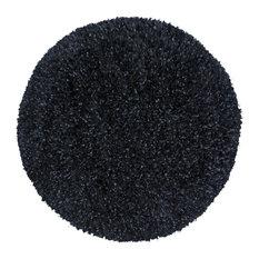 Shimmer Shag Round Rug, Black, 2'x2'