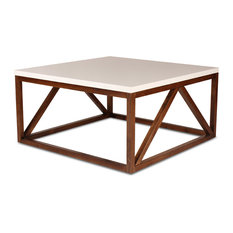Uniek   Kaya 2 Toned Wood Square Coffee Table, White And Walnut Brown