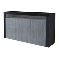 Sideboard in Black Matte with 3 Door and 1 Open Case, Modern Design